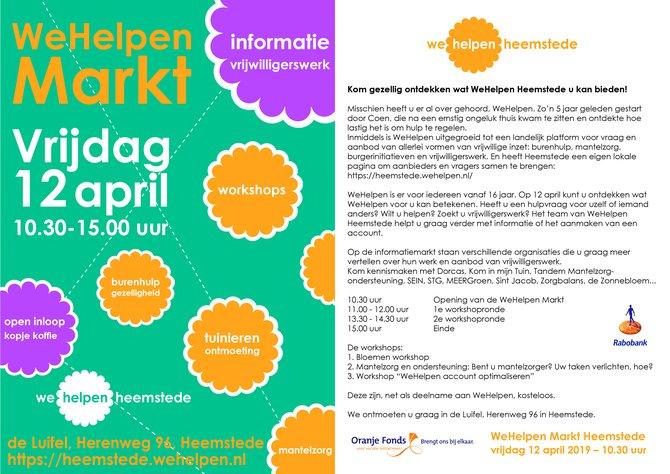 Vrijdag 12 april WeHelpen Markt in de Luifel 10.30-15.00 uur